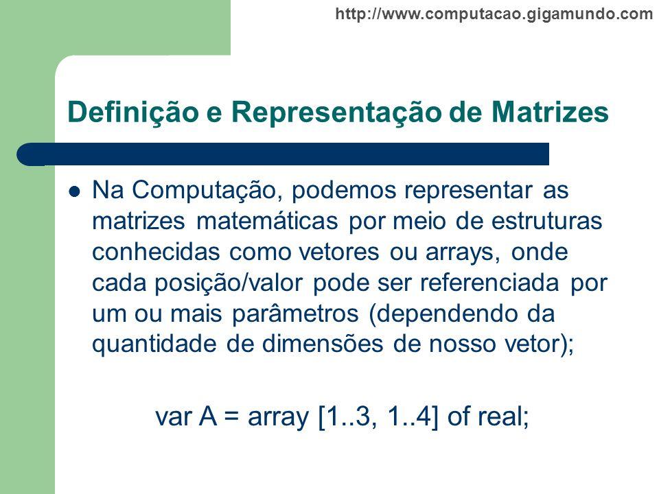 Definição e Representação de Matrizes