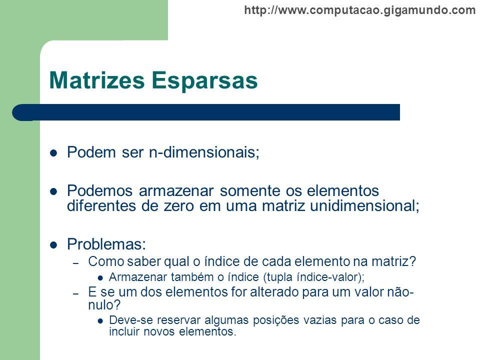 Matrizes Esparsas Podem ser n-dimensionais;