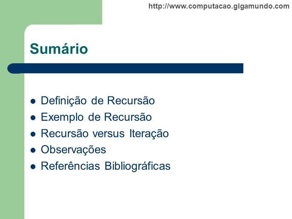 Sumário Definição de Recursão Exemplo de Recursão