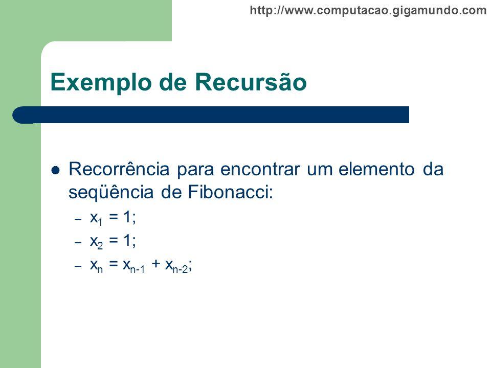 Exemplo de Recursão Recorrência para encontrar um elemento da seqüência de Fibonacci: x1 = 1; x2 = 1;
