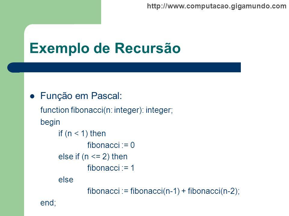Exemplo de Recursão Função em Pascal: