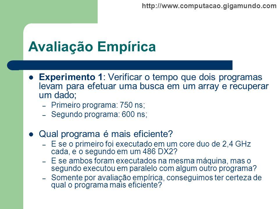 Avaliação Empírica Experimento 1: Verificar o tempo que dois programas levam para efetuar uma busca em um array e recuperar um dado;