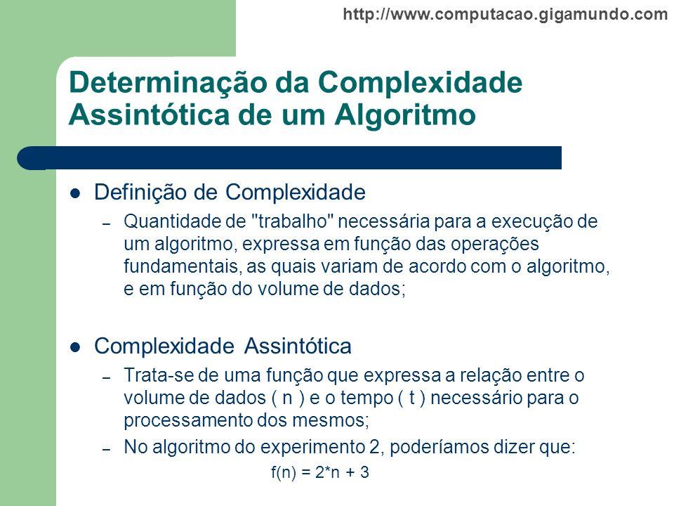 Determinação da Complexidade Assintótica de um Algoritmo