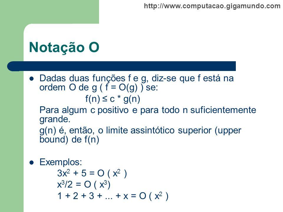 Notação O Dadas duas funções f e g, diz-se que f está na ordem O de g ( f = O(g) ) se: f(n) ≤ c * g(n)