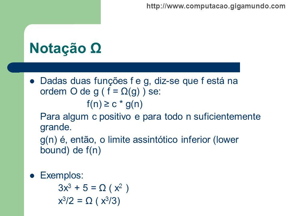 Notação Ω Dadas duas funções f e g, diz-se que f está na ordem O de g ( f = Ω(g) ) se: f(n) ≥ c * g(n)