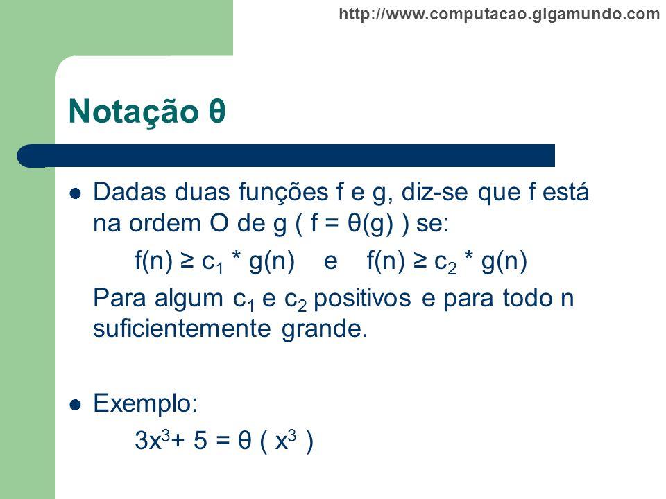 Notação θ Dadas duas funções f e g, diz-se que f está na ordem O de g ( f = θ(g) ) se: f(n) ≥ c1 * g(n) e f(n) ≥ c2 * g(n)
