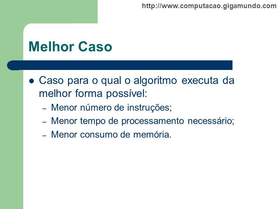 Melhor Caso Caso para o qual o algoritmo executa da melhor forma possível: Menor número de instruções;