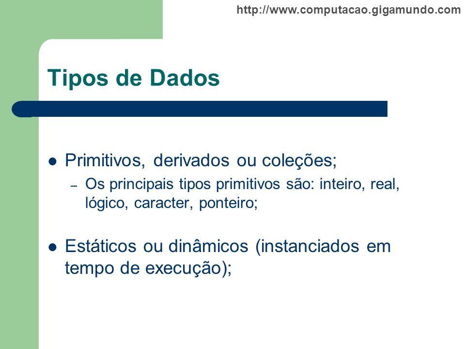Tipos de Dados Primitivos, derivados ou coleções;