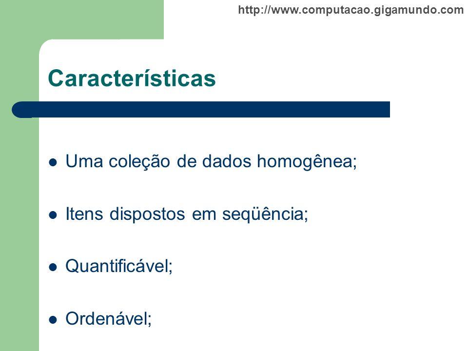 Características Uma coleção de dados homogênea;