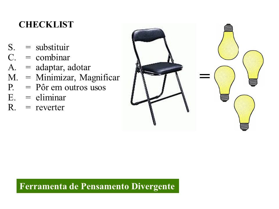 = CHECKLIST S. = substituir C. = combinar A. = adaptar, adotar