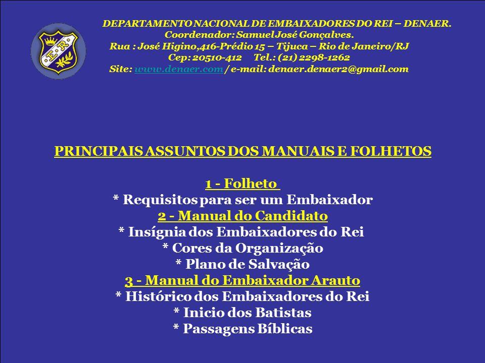 PRINCIPAIS ASSUNTOS DOS MANUAIS E FOLHETOS 1 - Folheto