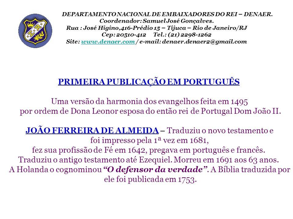 PRIMEIRA PUBLICAÇÃO EM PORTUGUÊS