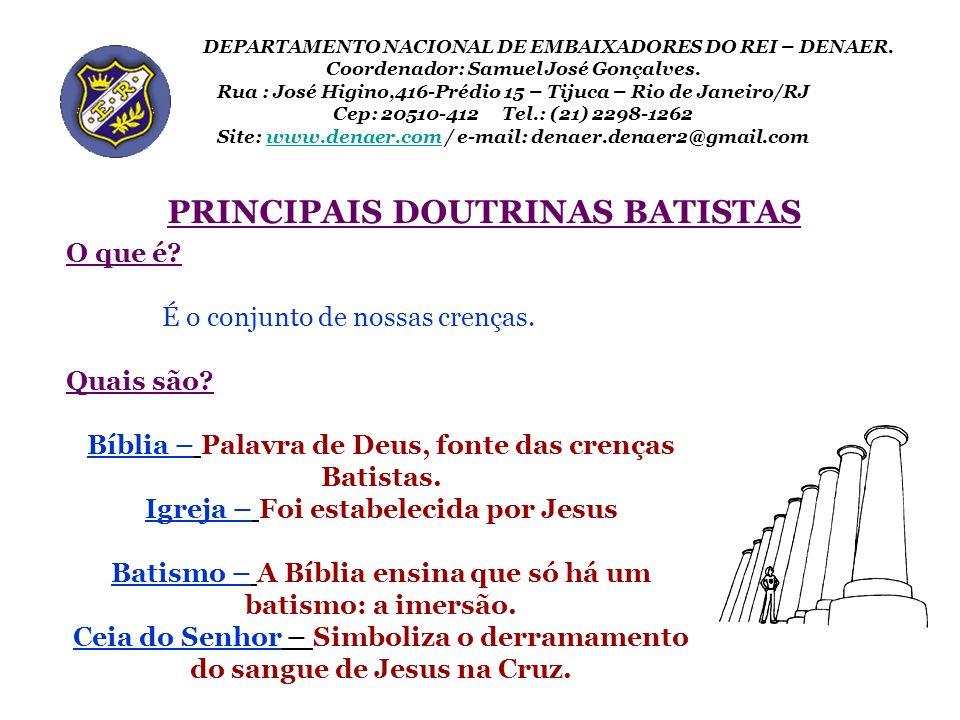 PRINCIPAIS DOUTRINAS BATISTAS