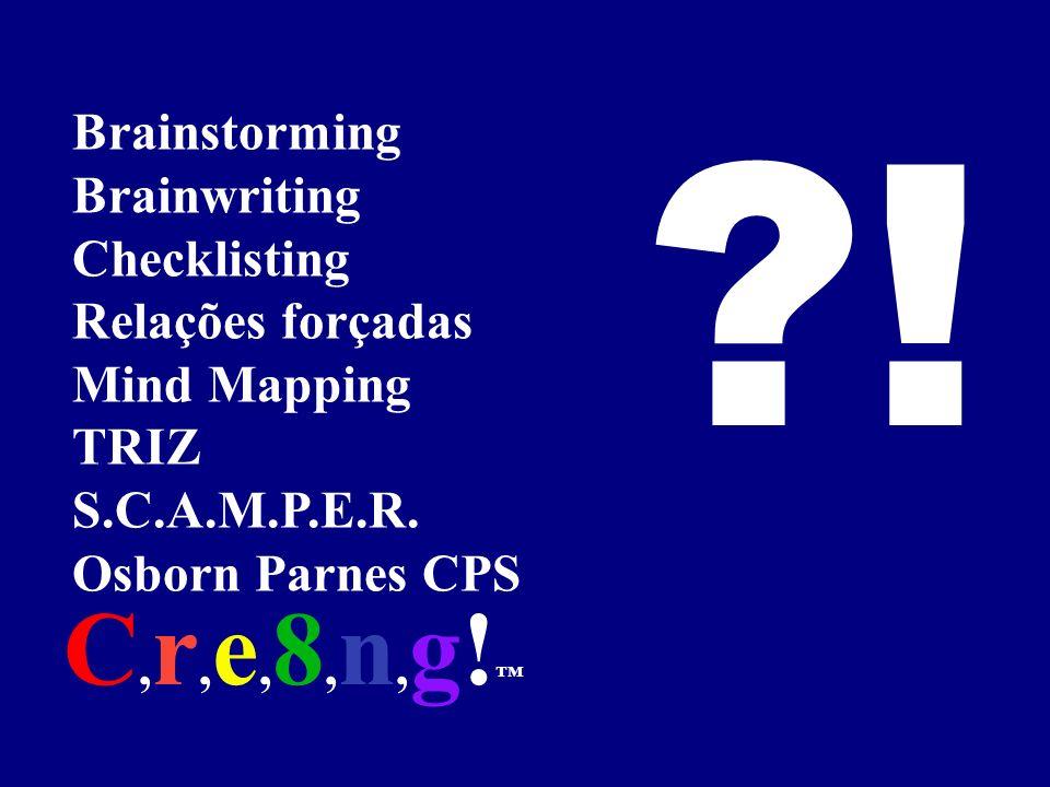 ! C,r,e,8,n,g!™ Brainstorming Brainwriting Checklisting