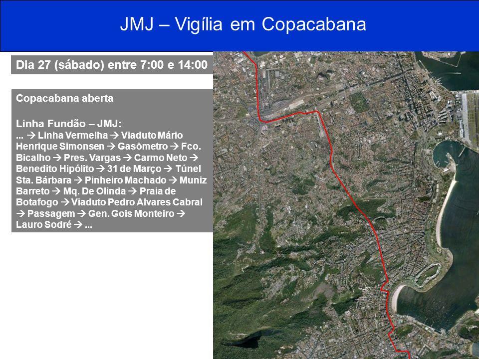 Dia 27 (sábado) entre 7:00 e 14:00 Copacabana aberta