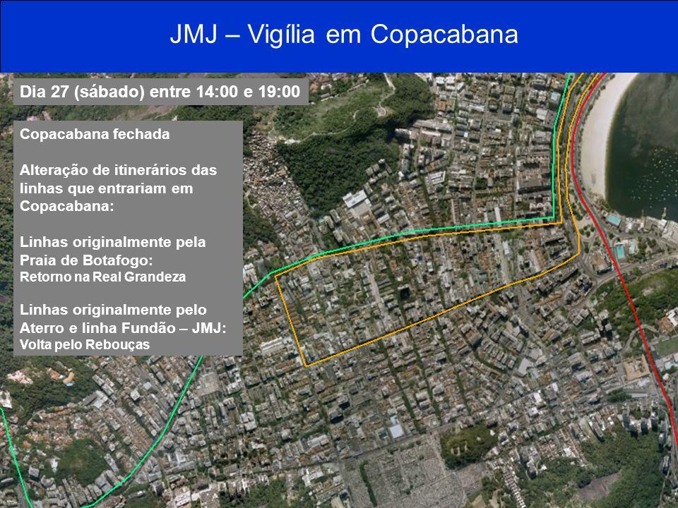 Dia 27 (sábado) entre 14:00 e 19:00 Copacabana fechada