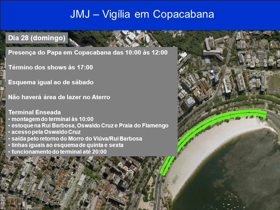 Dia 28 (domingo) Presença do Papa em Copacabana das 10:00 às 12:00