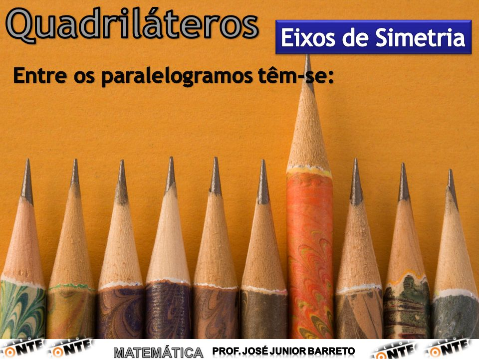 Quadriláteros Eixos de Simetria Entre os paralelogramos têm-se: