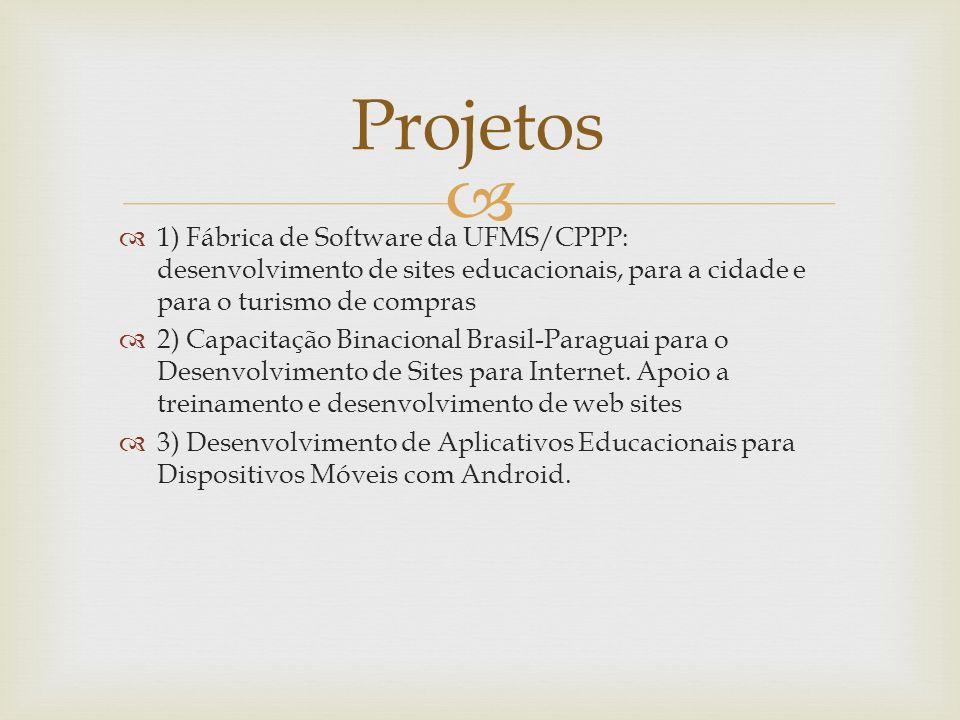 Projetos 1) Fábrica de Software da UFMS/CPPP: desenvolvimento de sites educacionais, para a cidade e para o turismo de compras.