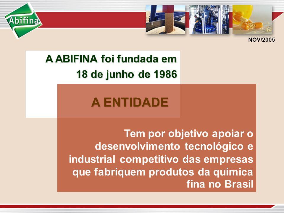 A ENTIDADE A ABIFINA foi fundada em 18 de junho de 1986