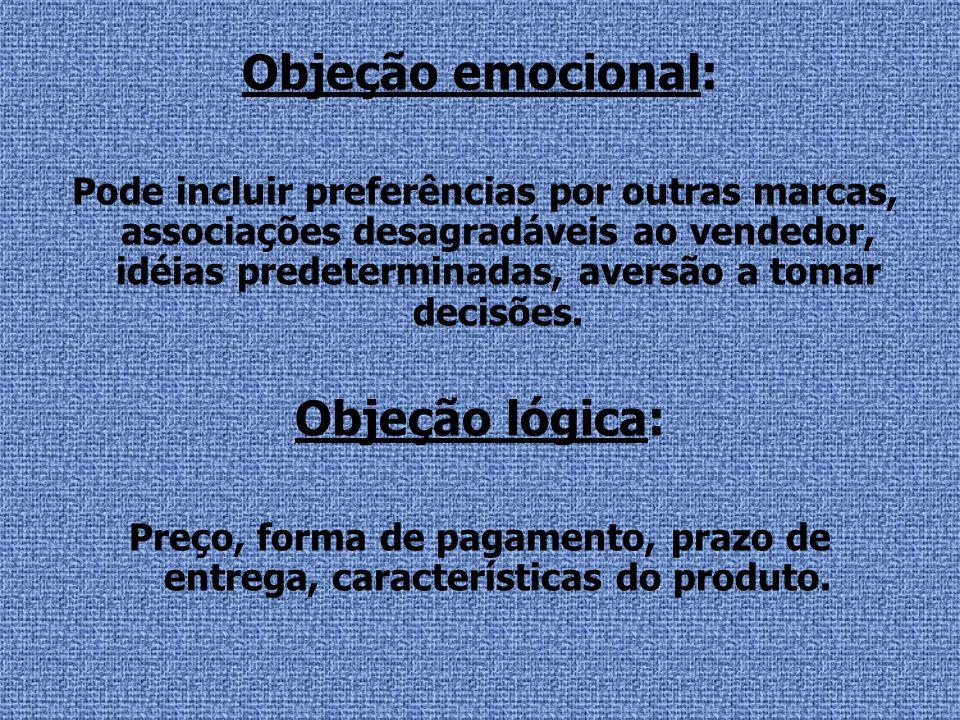 Objeção emocional: Objeção lógica: