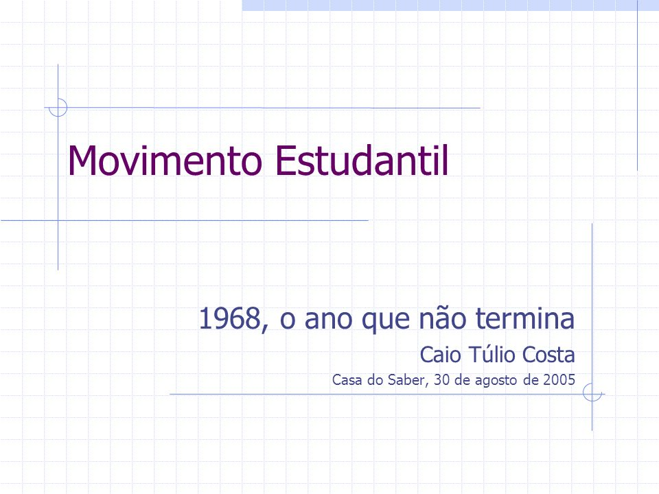 Movimento Estudantil 1968, o ano que não termina Caio Túlio Costa