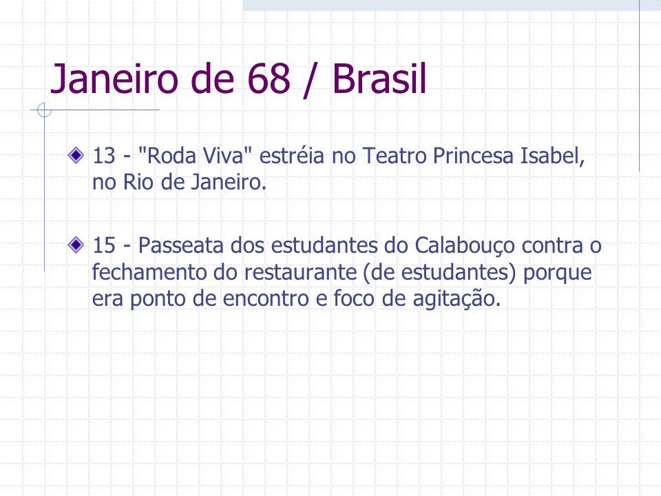 Janeiro de 68 / Brasil 13 - Roda Viva estréia no Teatro Princesa Isabel, no Rio de Janeiro.