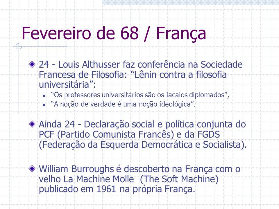Fevereiro de 68 / França24 - Louis Althusser faz conferência na Sociedade Francesa de Filosofia: Lênin contra a filosofia universitária :