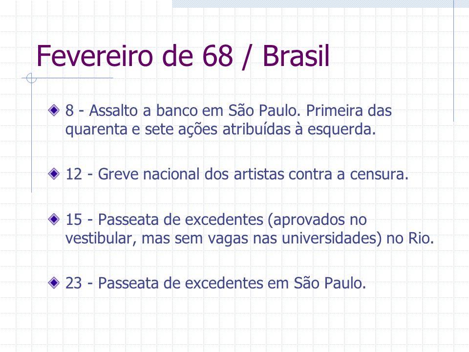 Fevereiro de 68 / Brasil8 - Assalto a banco em São Paulo. Primeira das quarenta e sete ações atribuídas à esquerda.