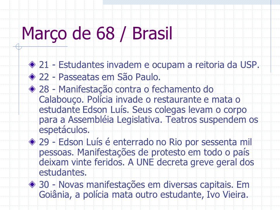 Março de 68 / Brasil 21 - Estudantes invadem e ocupam a reitoria da USP. 22 - Passeatas em São Paulo.