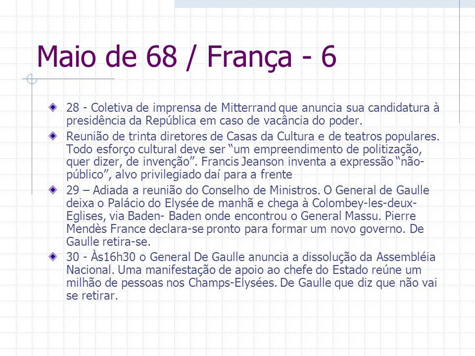 Maio de 68 / França - 6 28 - Coletiva de imprensa de Mitterrand que anuncia sua candidatura à presidência da República em caso de vacância do poder.