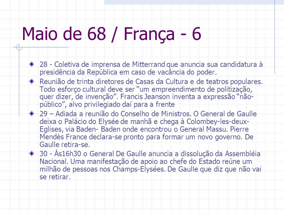Maio de 68 / França - 628 - Coletiva de imprensa de Mitterrand que anuncia sua candidatura à presidência da República em caso de vacância do poder.
