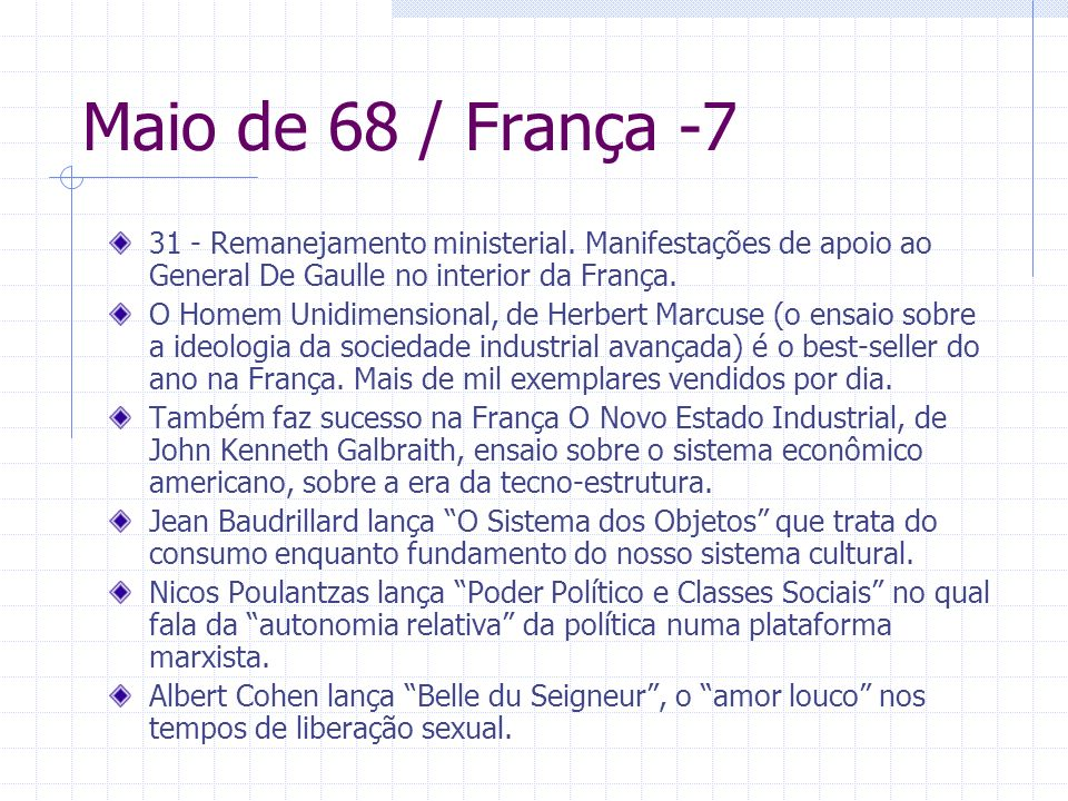 Maio de 68 / França -7 31 - Remanejamento ministerial. Manifestações de apoio ao General De Gaulle no interior da França.