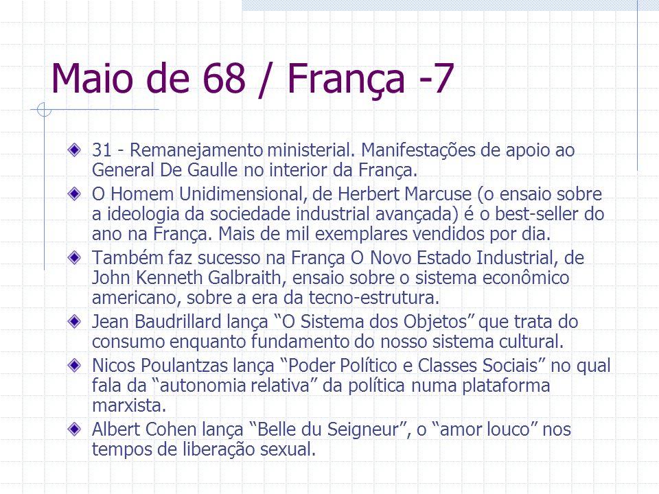 Maio de 68 / França -731 - Remanejamento ministerial. Manifestações de apoio ao General De Gaulle no interior da França.