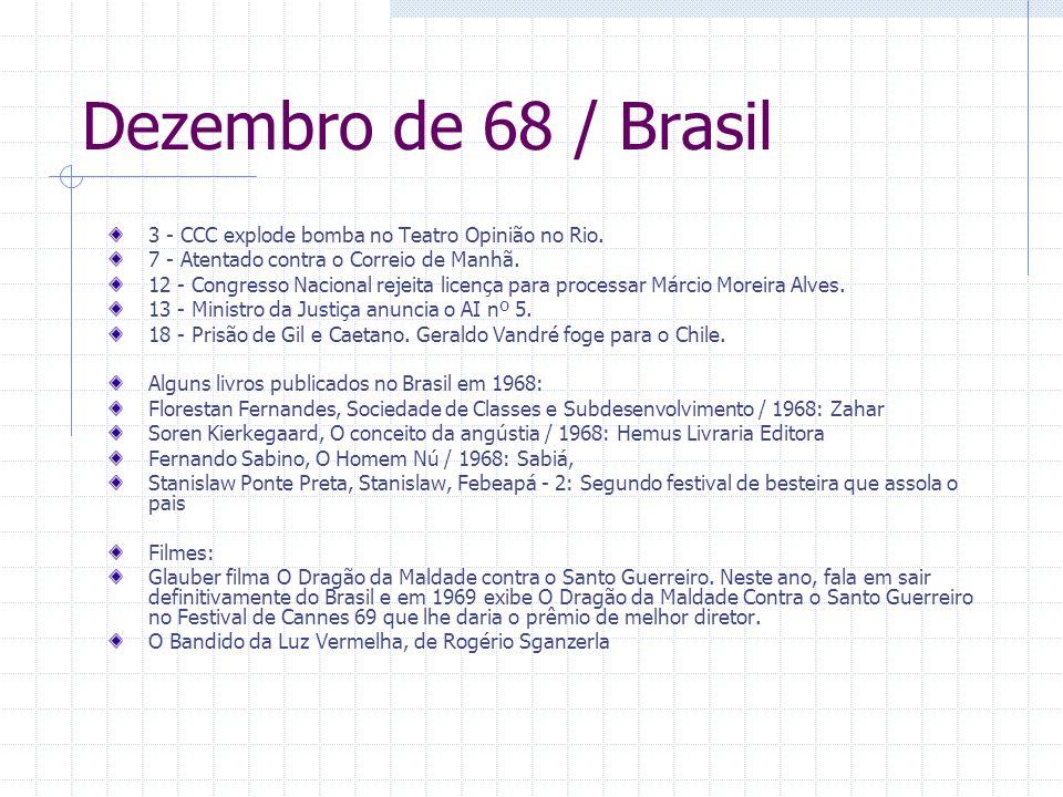 Dezembro de 68 / Brasil3 - CCC explode bomba no Teatro Opinião no Rio. 7 - Atentado contra o Correio de Manhã.