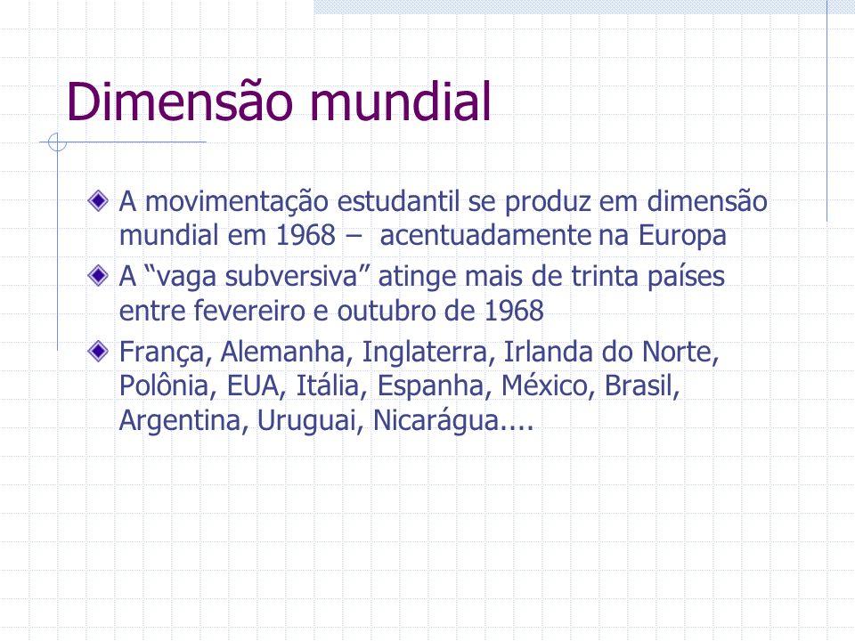 Dimensão mundialA movimentação estudantil se produz em dimensão mundial em 1968 – acentuadamente na Europa.