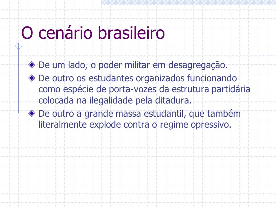 O cenário brasileiro De um lado, o poder militar em desagregação.