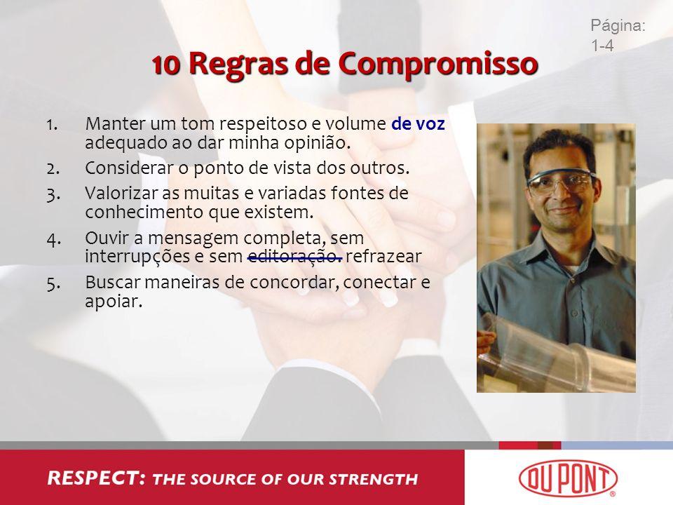 Página: 1-4 10 Regras de Compromisso. Manter um tom respeitoso e volume de voz adequado ao dar minha opinião.