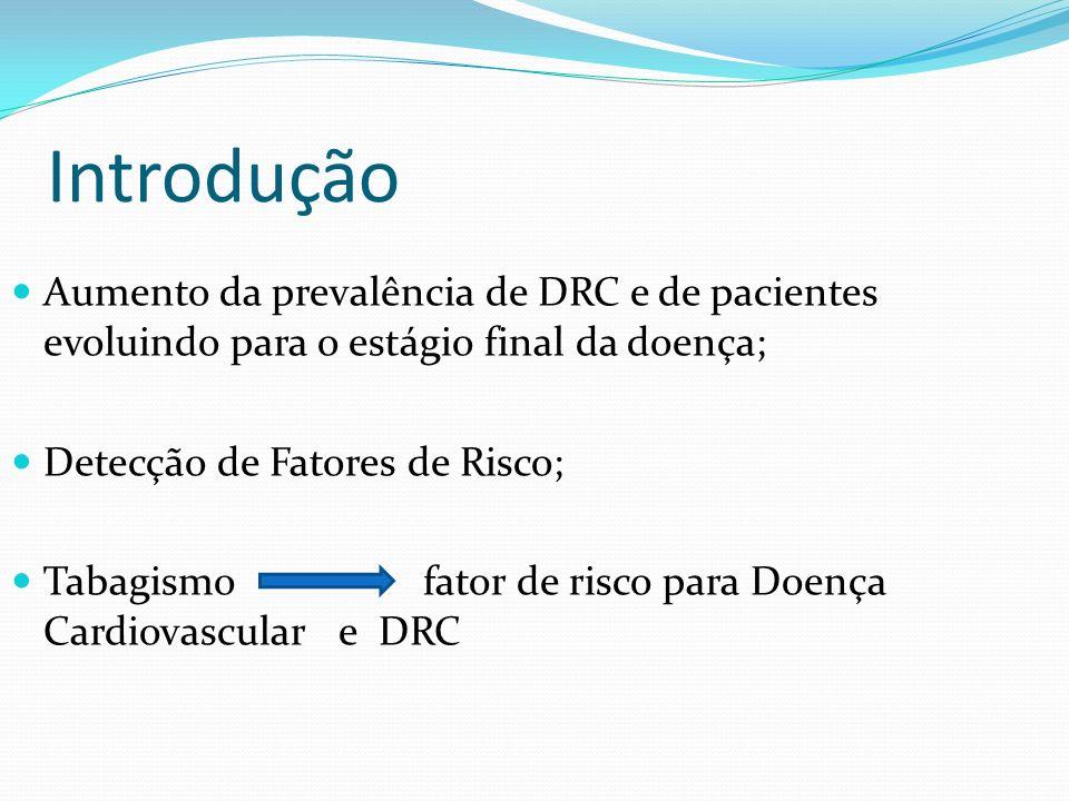 Introdução Aumento da prevalência de DRC e de pacientes evoluindo para o estágio final da doença; Detecção de Fatores de Risco;