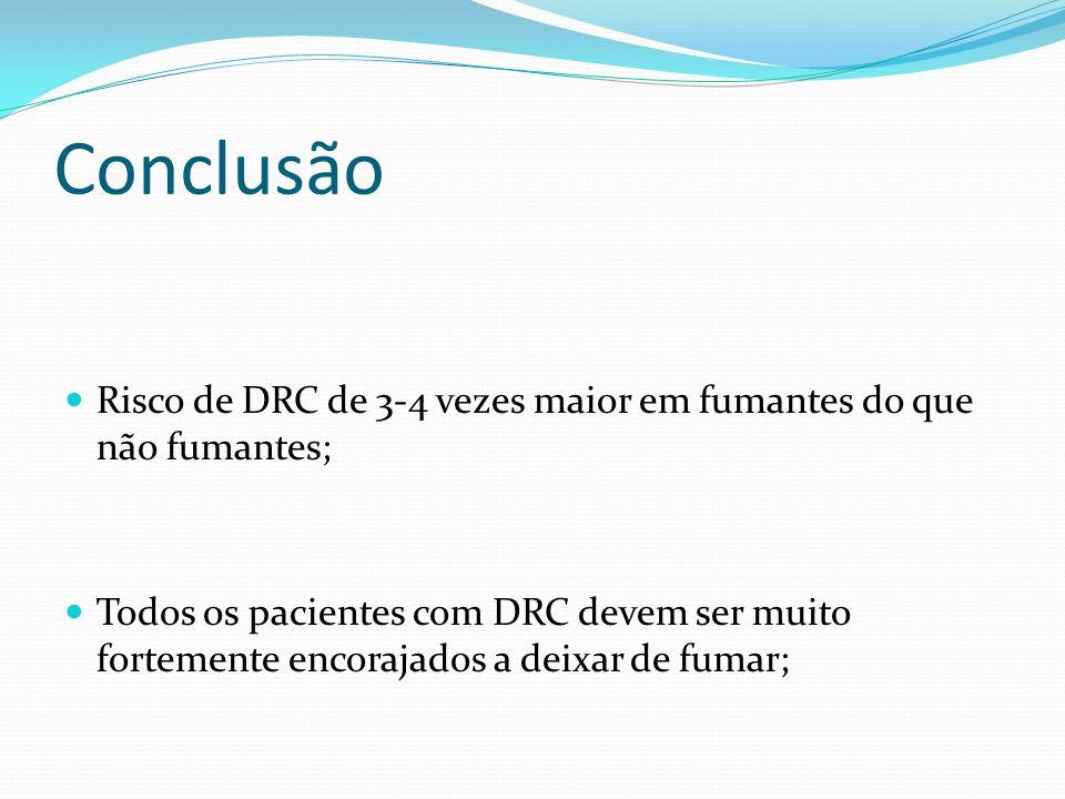 Conclusão Risco de DRC de 3-4 vezes maior em fumantes do que não fumantes;