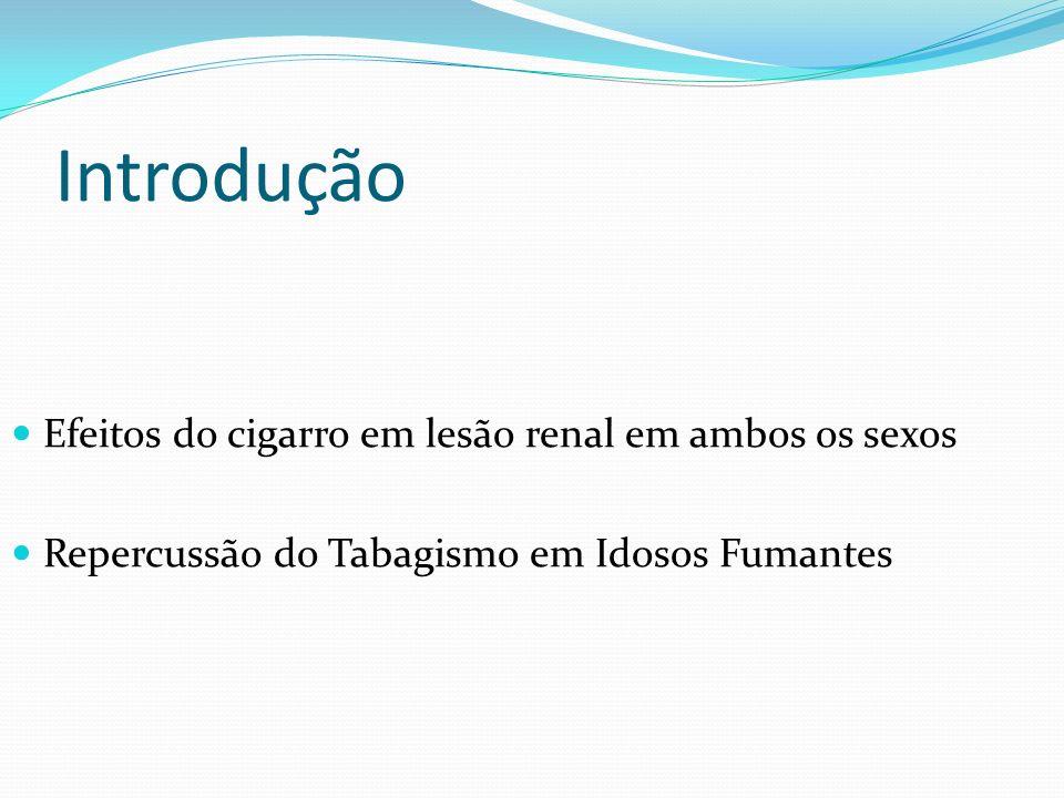 Introdução Efeitos do cigarro em lesão renal em ambos os sexos