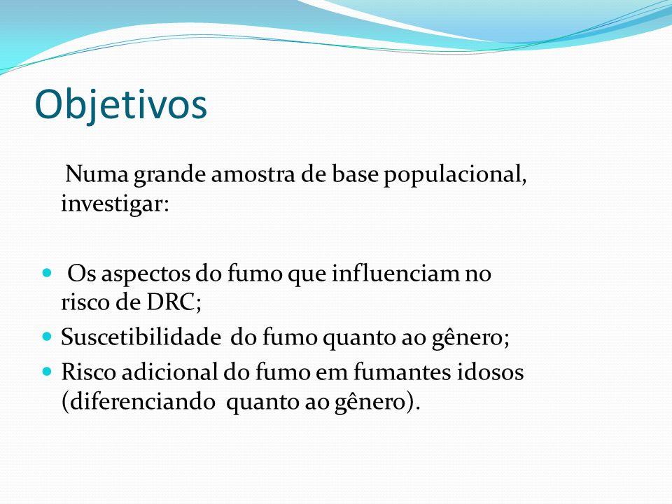 Objetivos Numa grande amostra de base populacional, investigar: