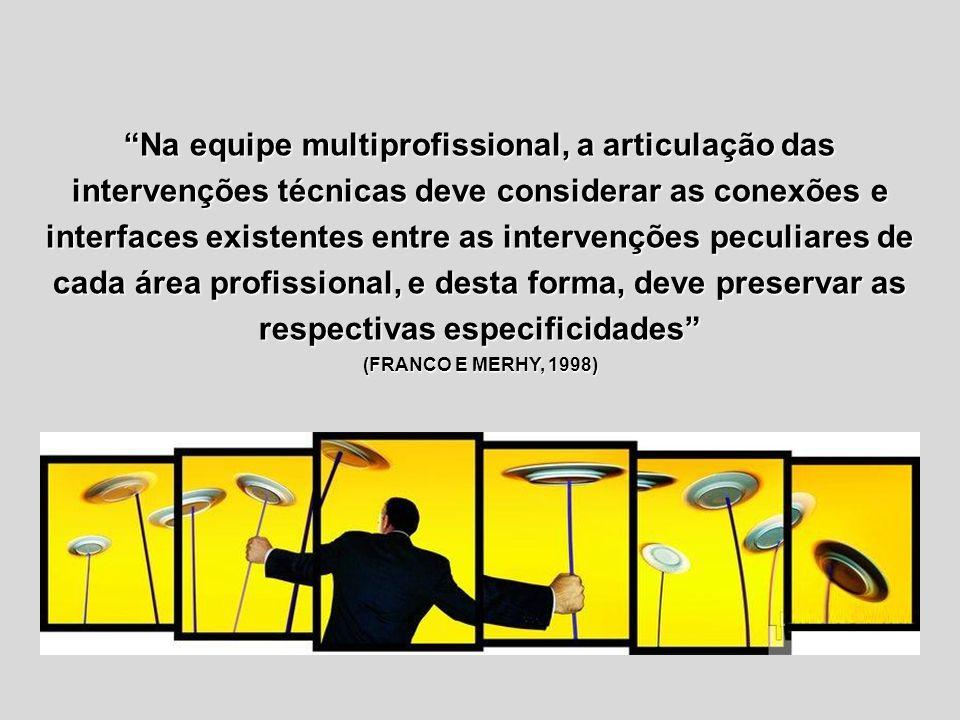 Na equipe multiprofissional, a articulação das intervenções técnicas deve considerar as conexões e interfaces existentes entre as intervenções peculiares de cada área profissional, e desta forma, deve preservar as respectivas especificidades (FRANCO E MERHY, 1998)