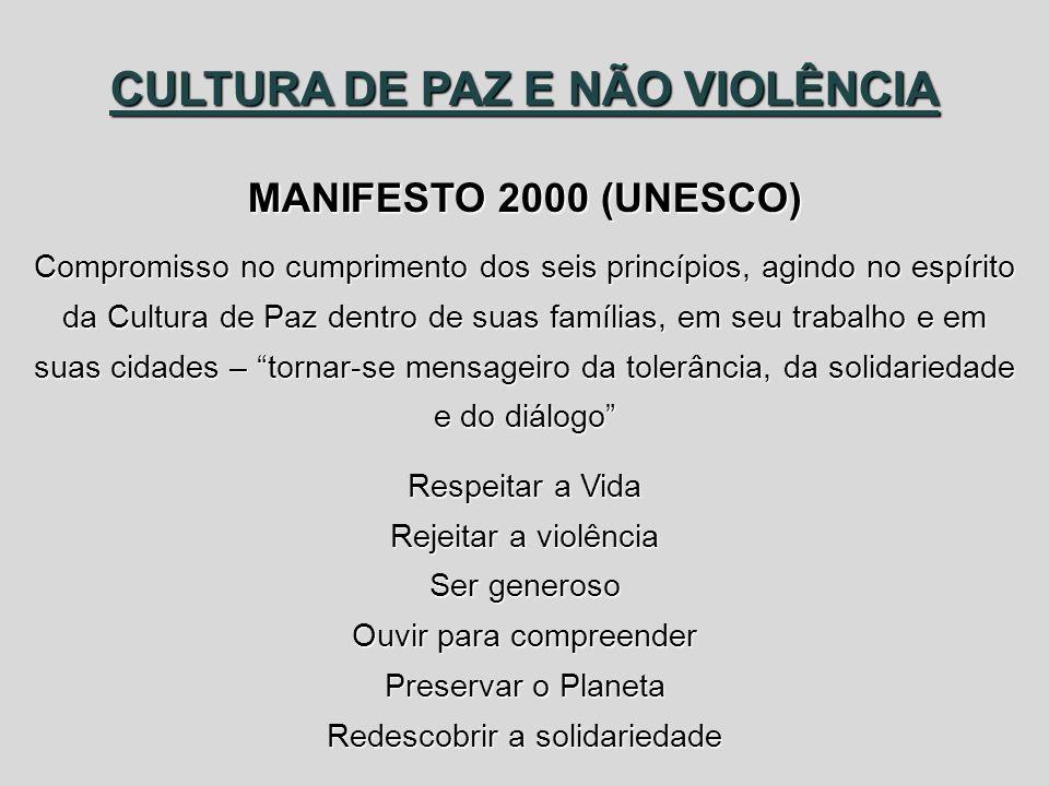 CULTURA DE PAZ E NÃO VIOLÊNCIA MANIFESTO 2000 (UNESCO)