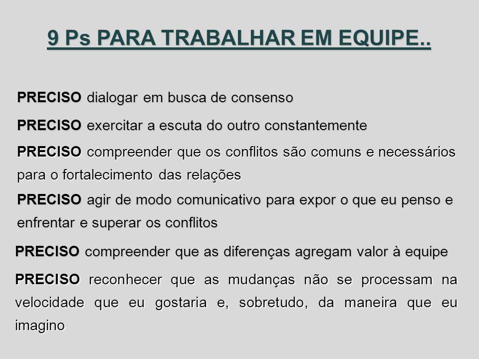 9 Ps PARA TRABALHAR EM EQUIPE..