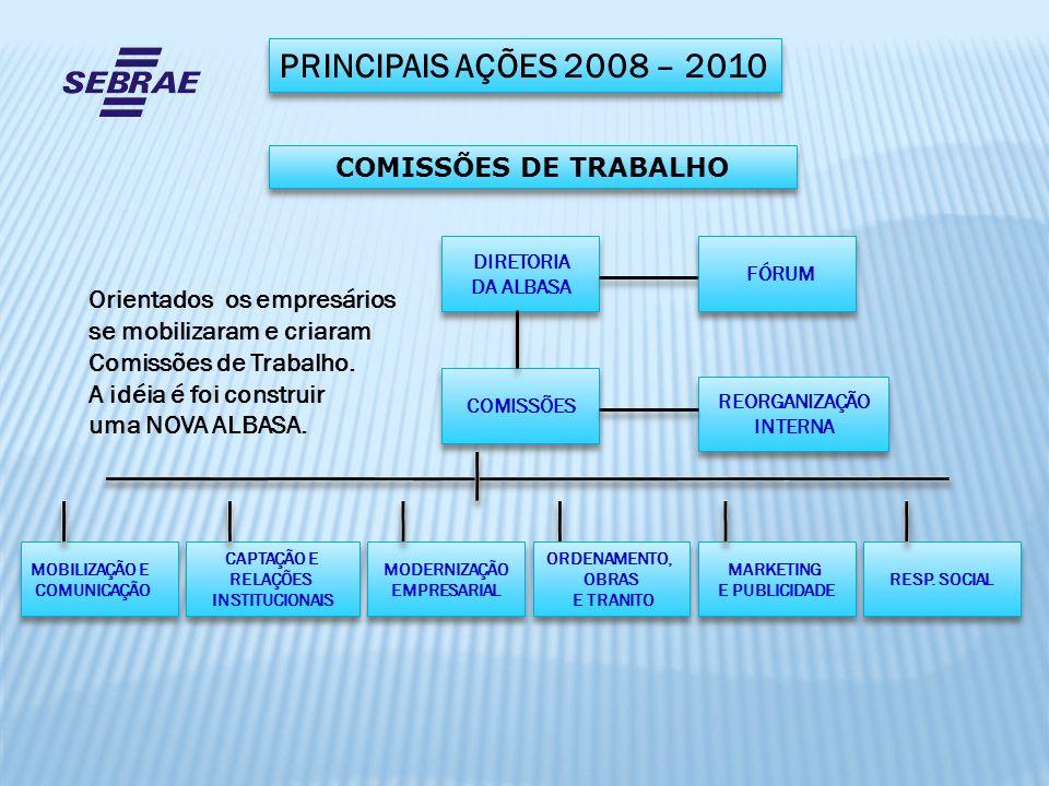 PRINCIPAIS AÇÕES 2008 – 2010 COMISSÕES DE TRABALHO