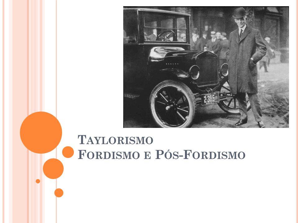Taylorismo Fordismo e Pós-Fordismo