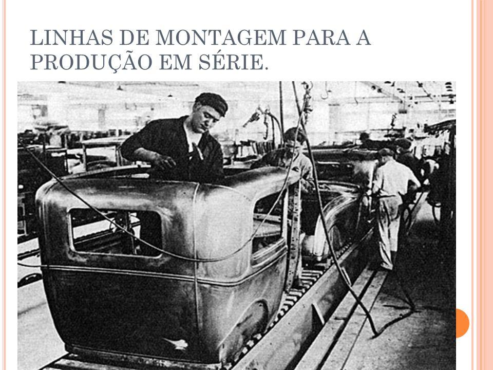 LINHAS DE MONTAGEM PARA A PRODUÇÃO EM SÉRIE.
