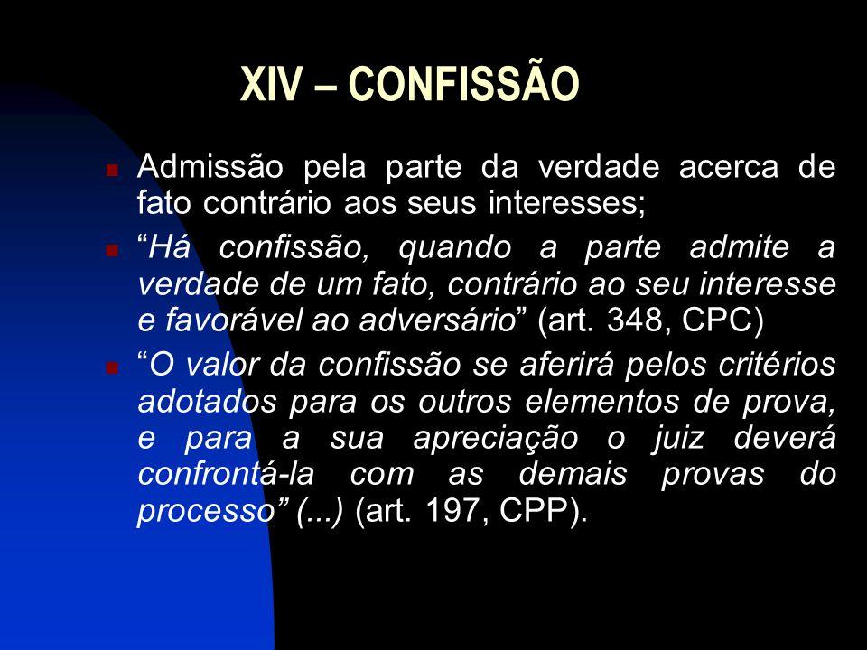 XIV – CONFISSÃO Admissão pela parte da verdade acerca de fato contrário aos seus interesses;