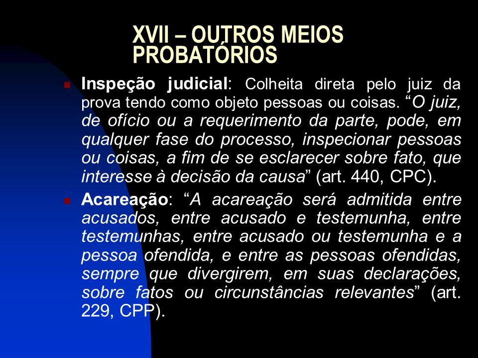 XVII – OUTROS MEIOS PROBATÓRIOS